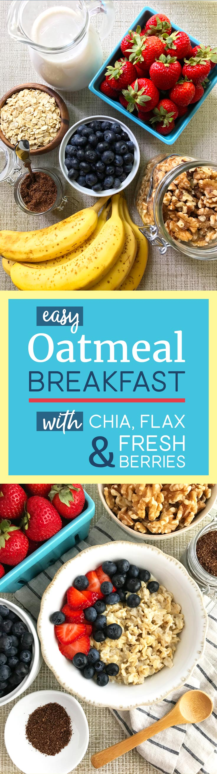 Reads Easy Oatmeal Breakfast with Chia Flax and Fresh Berries and shows oatmeal ingredients and cooked oatmeal in a bowl.