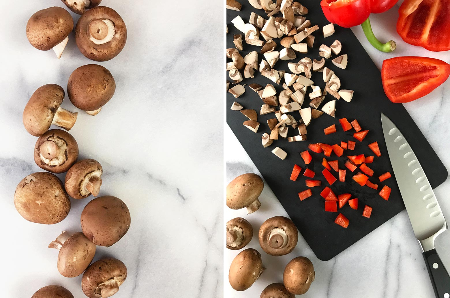 Left photo: Close-up of cremini mushrooms. Right photo: Chopped mushrooms and red bell pepper on a black cutting board.