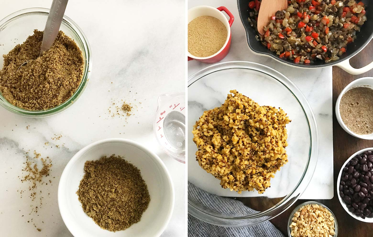 Left photo: flaxseed meal and water to create a flax egg. Right photo: A glass bowl with the grain mixture, surrounded by all the other loaf ingredients.