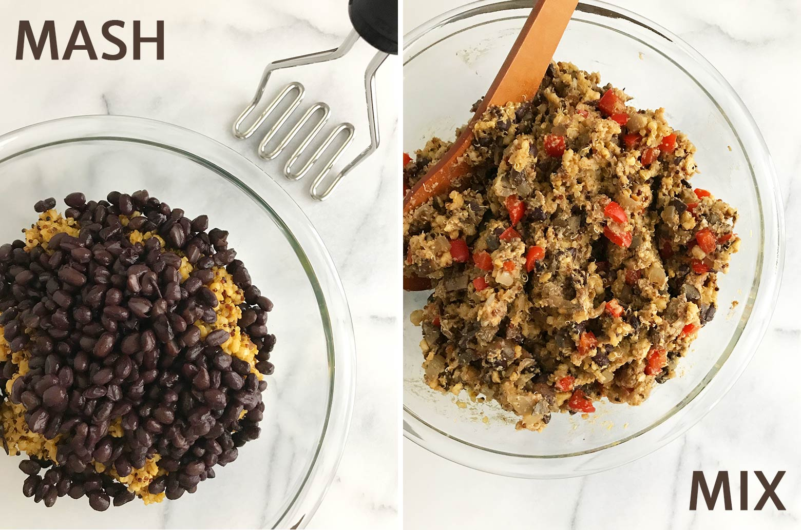 Left photo: black beans and grain mixture together in a glass bowl with a potato masher. Right photo: All of the loaf ingredients are combined in a bowl.