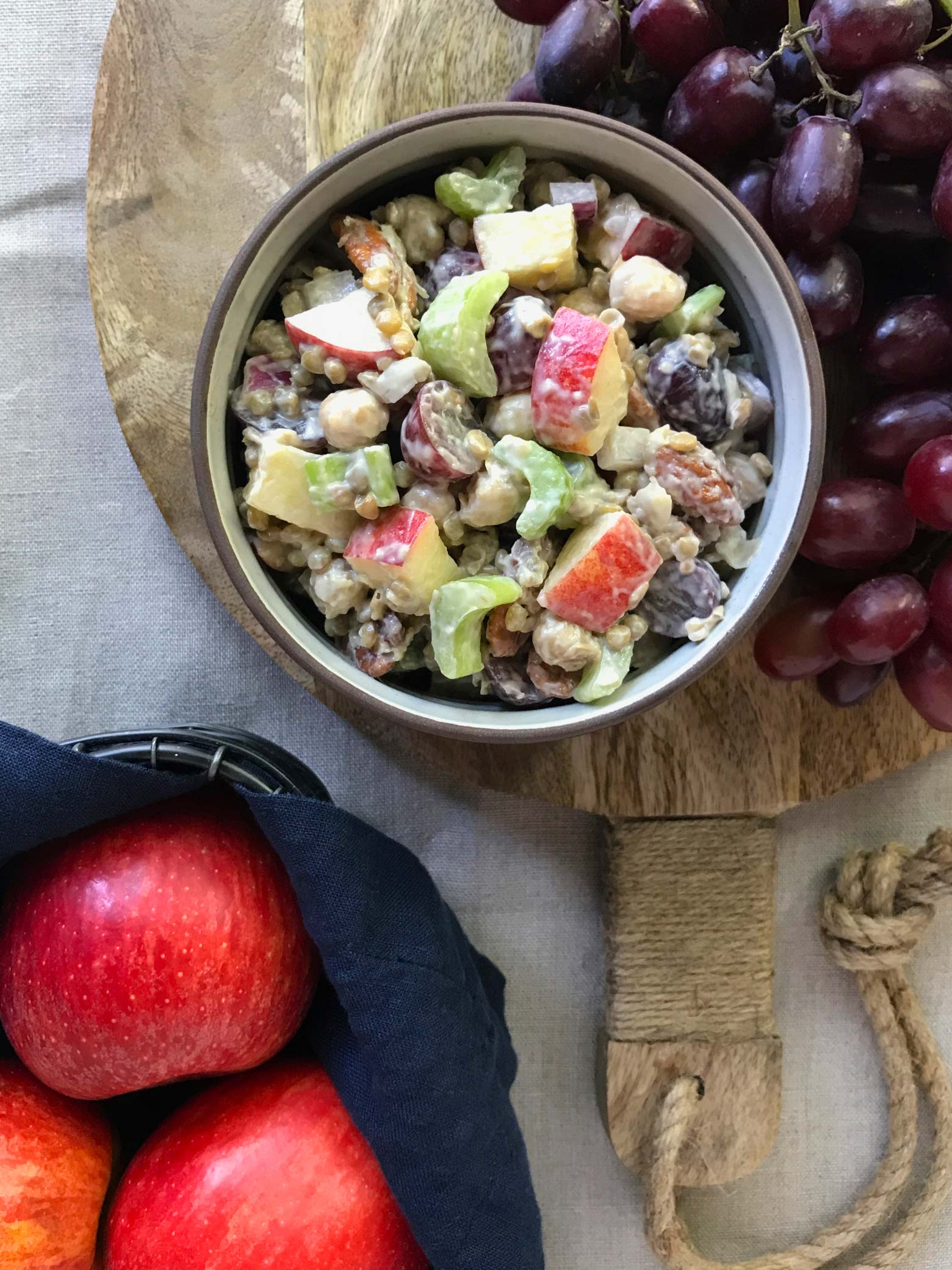 Crunchy Apple Chickpea Lentil Salad | findingveggiejoy.com