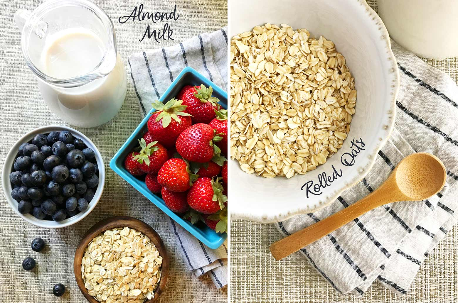 Ingredients to make oatmeal: almond milk, rolled oats and fresh berries