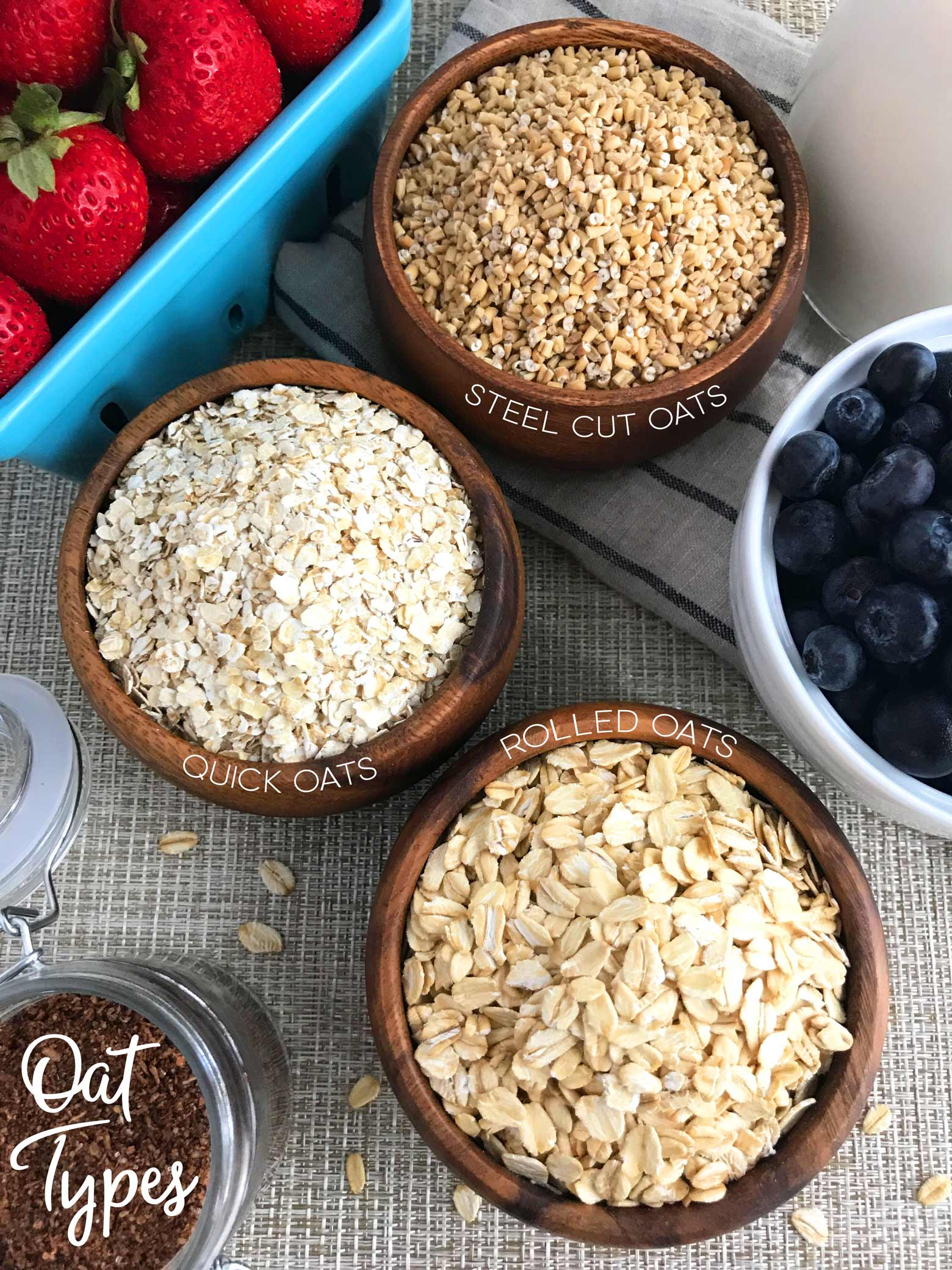 Shows three different oat types: steel cut oats, quick oats, rolled oats