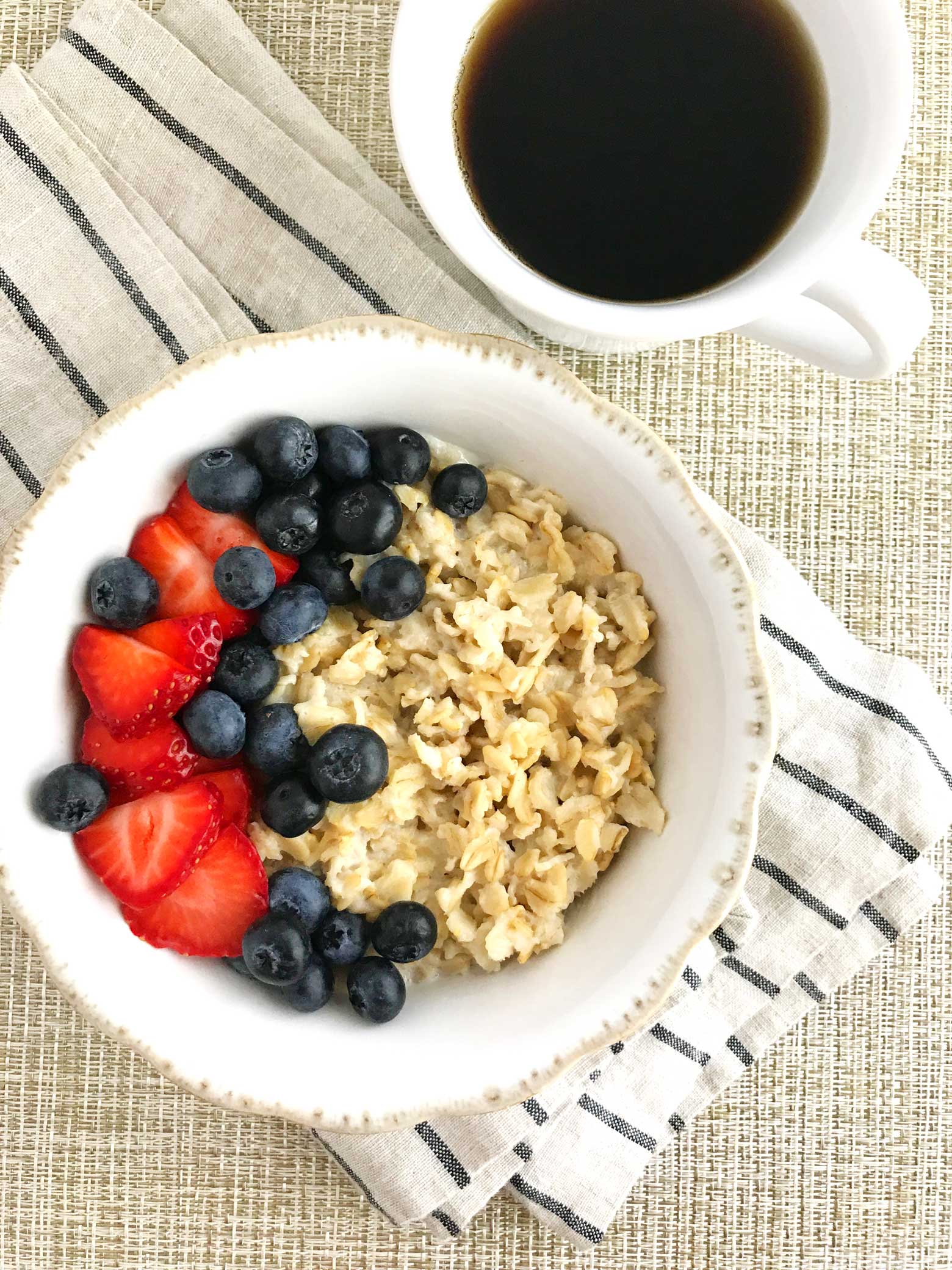 Shows oatmeal with fresh berries