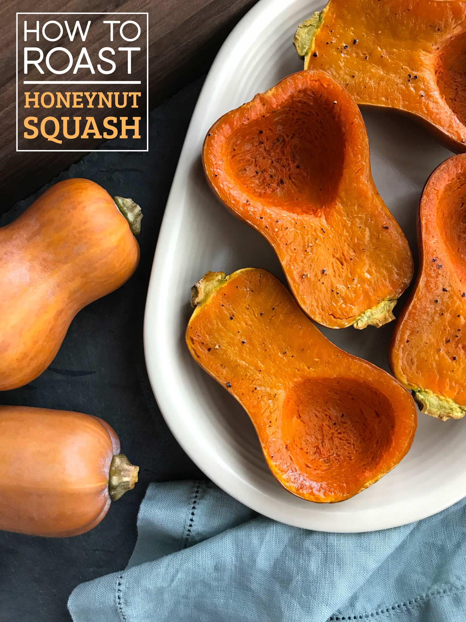 Honeynut Squash: Easy and incredibly delicious. With just a few seasonings, this winter squash can be prepped quickly and roasted. Simple and delightful! #honeynutsquash #wintersquash #howto #minibutternutsquash #fallfood #vegetarian #vegan #plantbased #healthysidedish #squash #howtoroastsquash