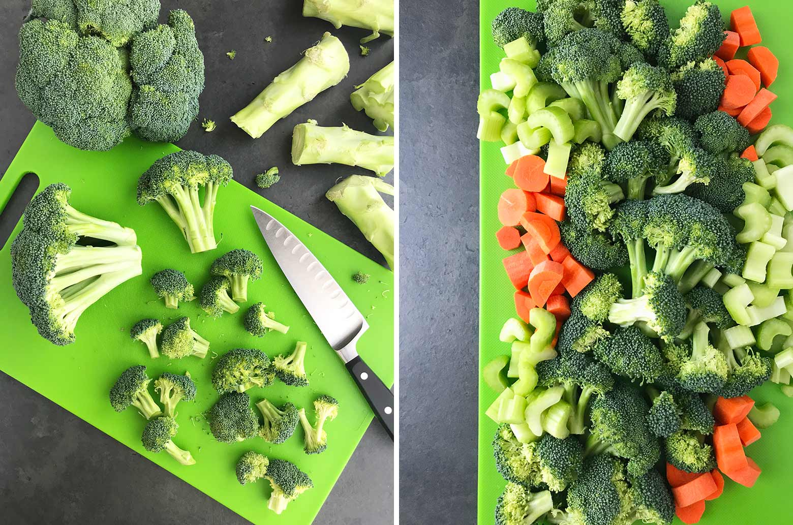 Chopped broccoli and other veggies on a green cutting board.