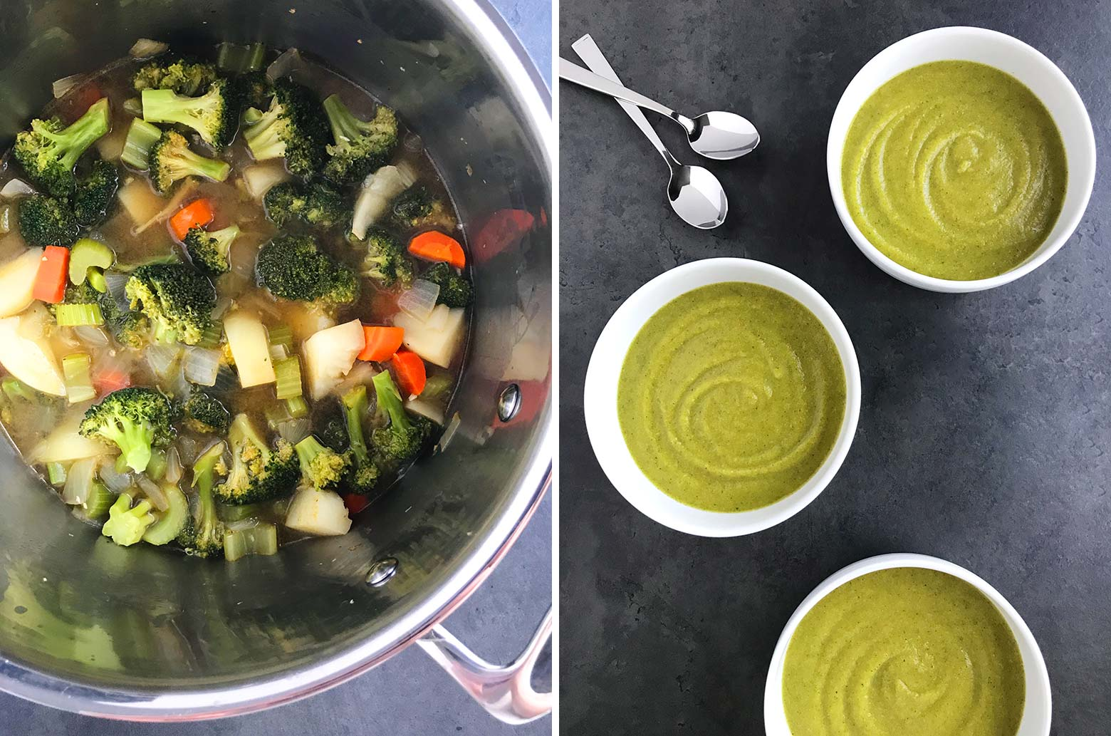 A pot of cooked healthy broccoli soup before being pureed and three bowls of pureed soup.
