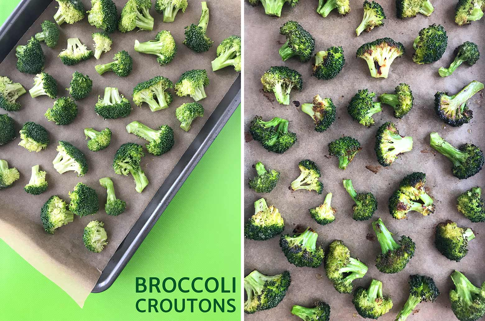 Shows chopped broccoli arranged on a baking sheet and roasted broccoli florets.