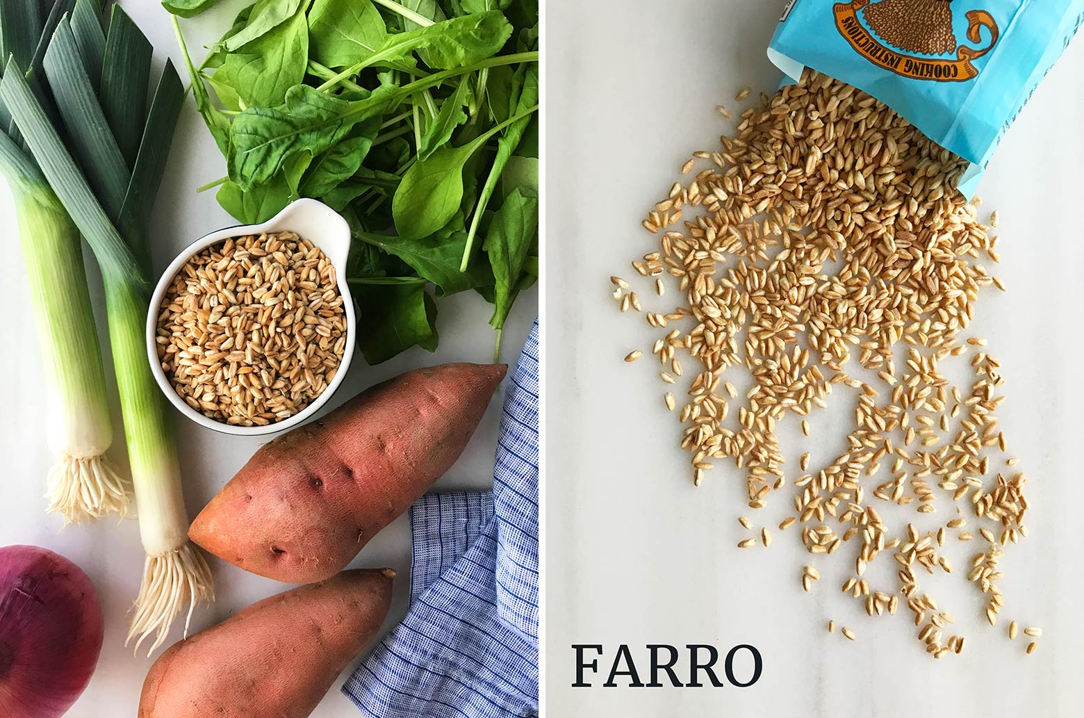 Quick cooking farro and salad ingredients.