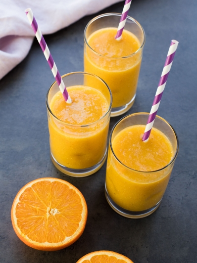 Glasses of homemade orange juice.