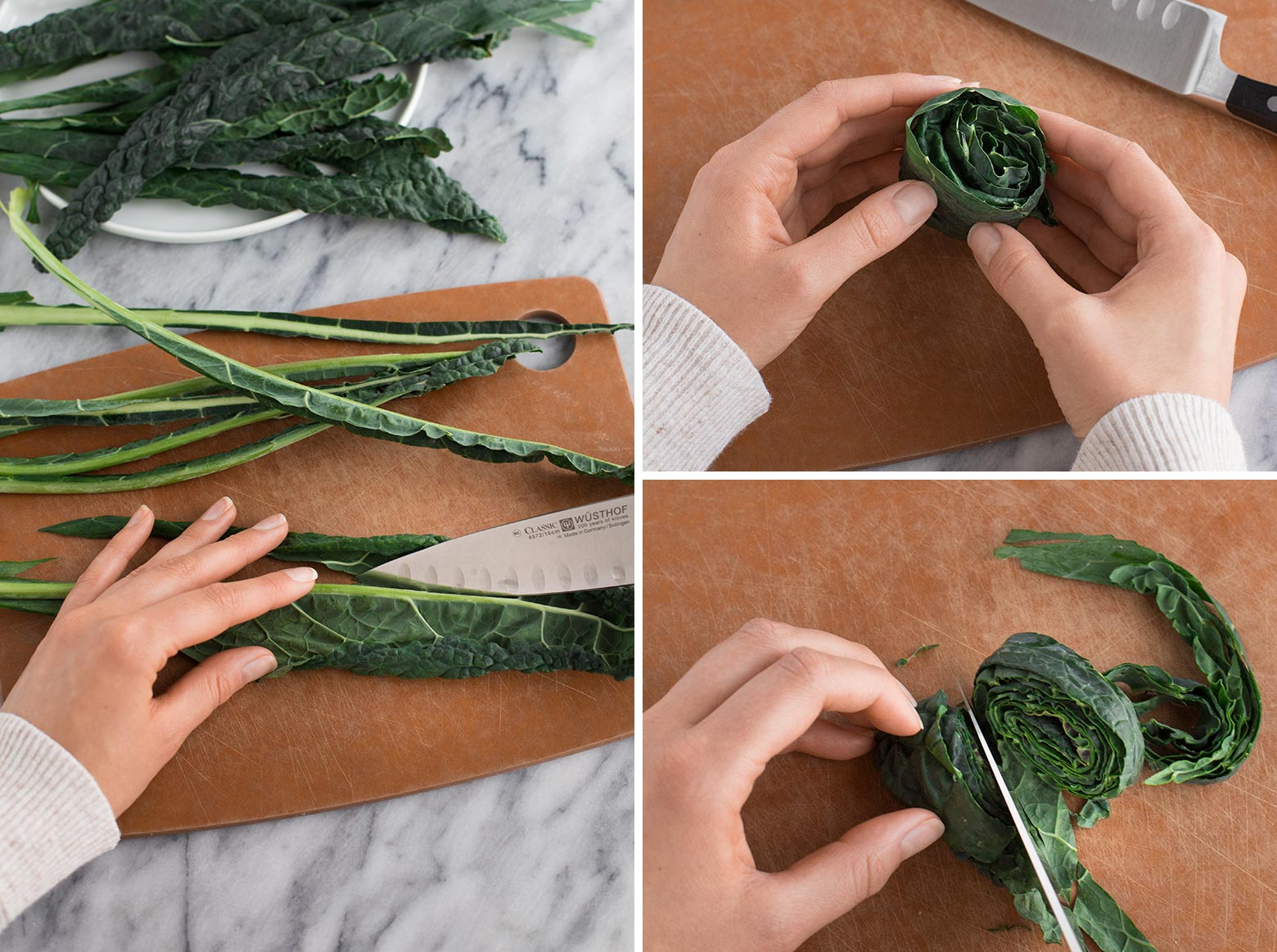 Shows how to de-stem Lacinato kale