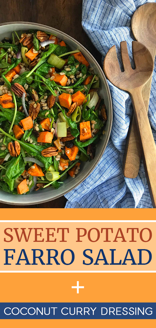 A coconut curry dressing transforms sweet potato, hearty farro and peppery arugula into a sweet and mildly spicy salad. #sweetpotato #farro #arugula #fallsalad #salad #findingveggiejoy
