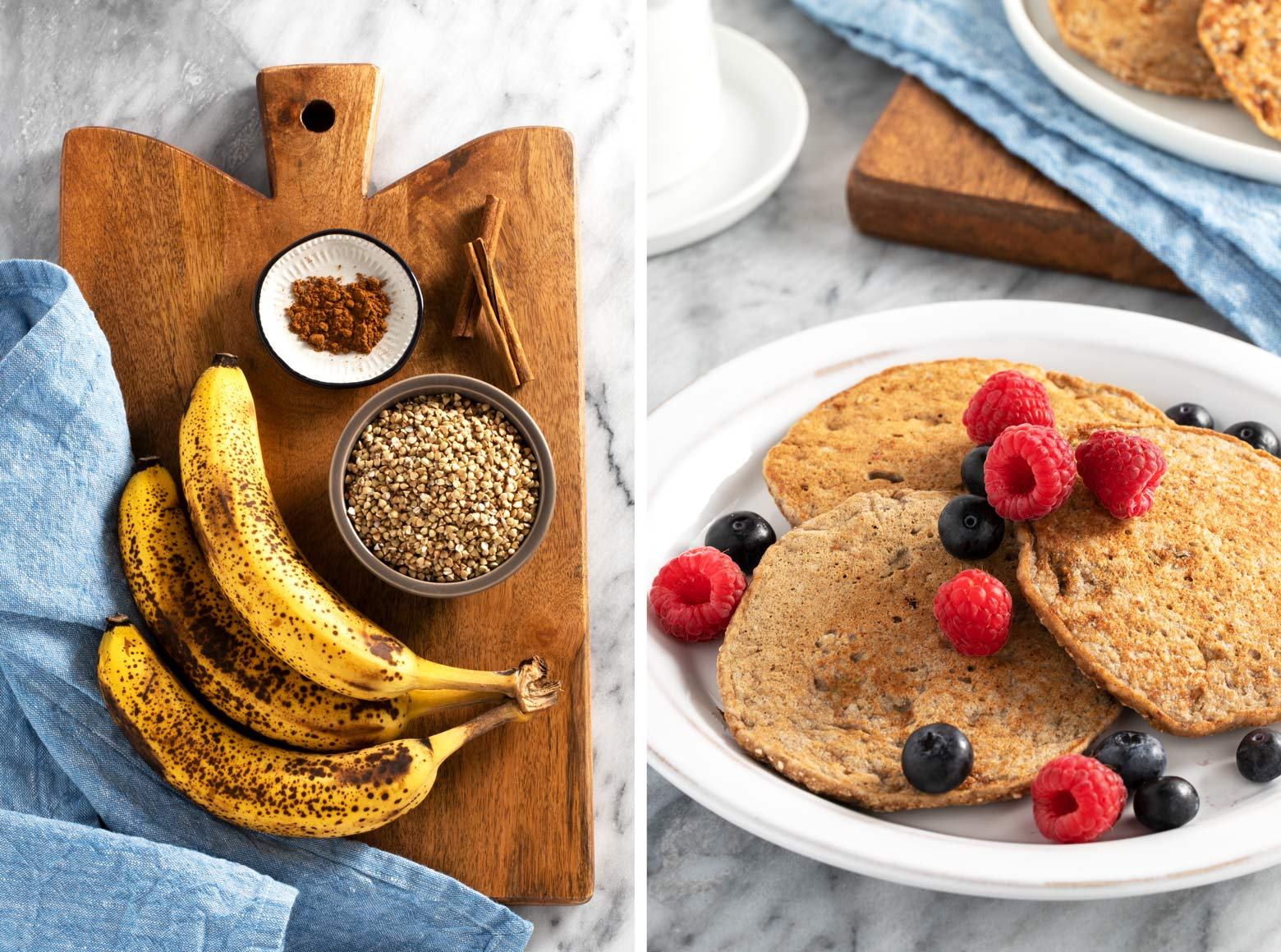 Ripe bananas and buckwheat are the main ingredients for these easy buckwheat banana pancakes.